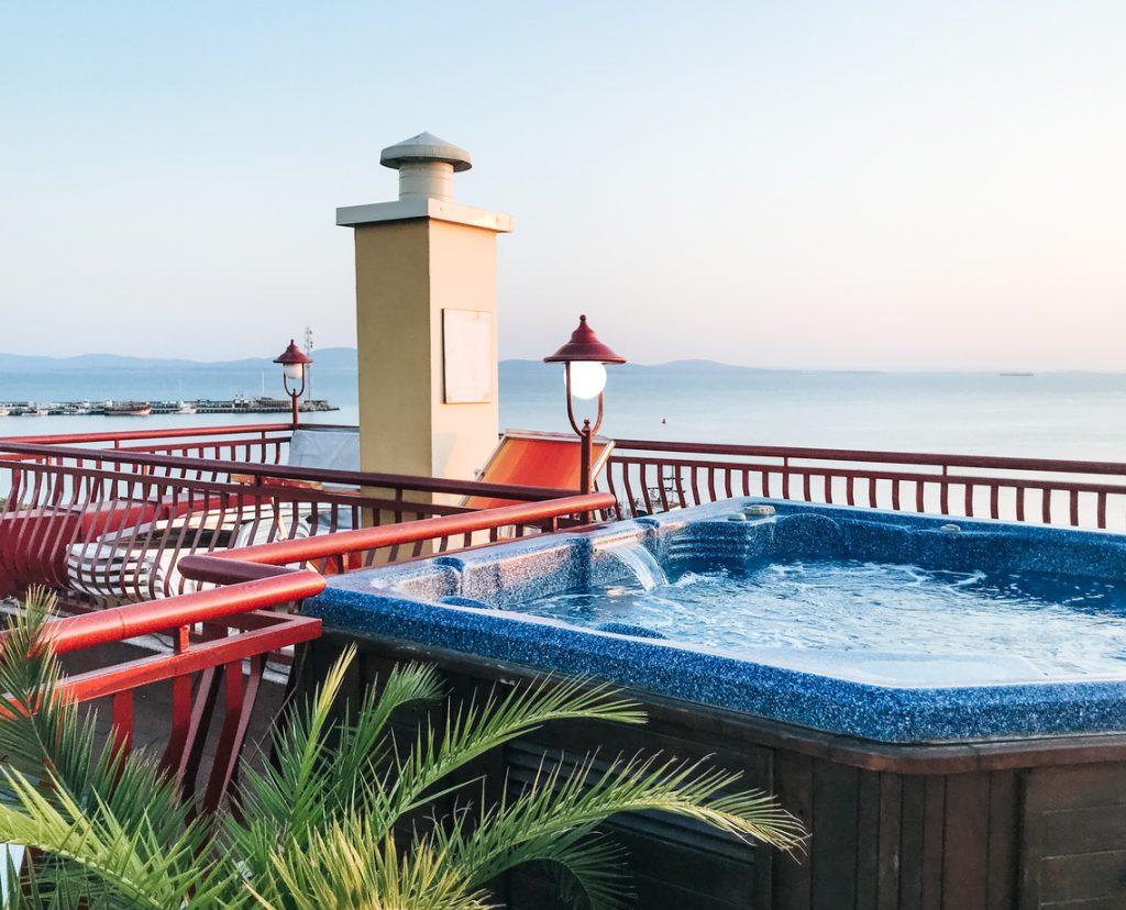 spa installation on deck